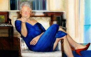 Bill Clinton női ruhában lógott Epstein falán
