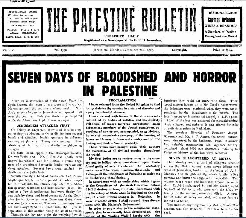 90 éve mészárolták le a hebroni zsidókat