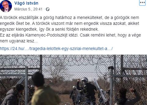 Vágó István a holokauszthoz hasonlította a migránsok helyzetét a görög-török határon