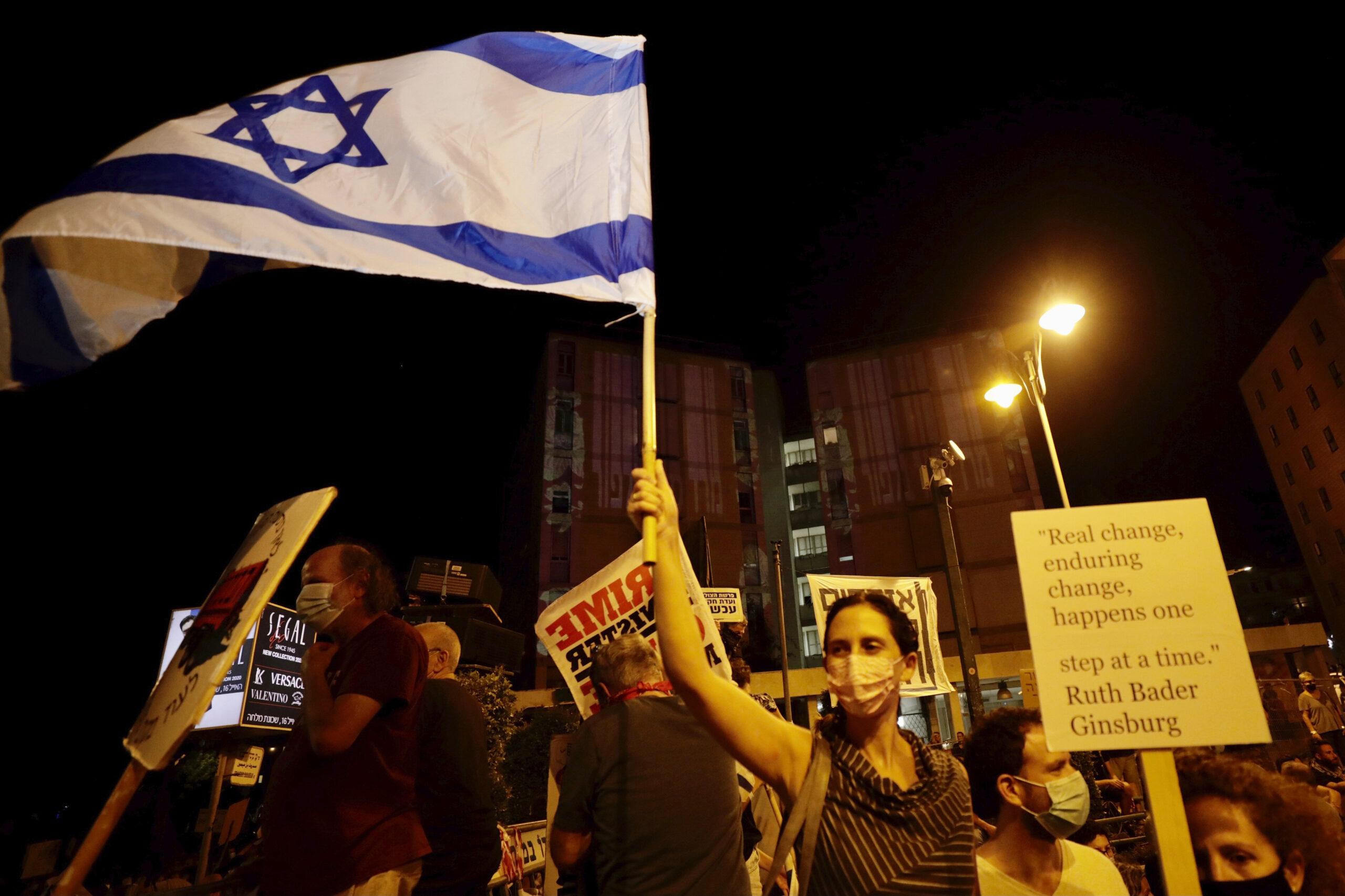 A zárlat alatt is tüntettek Netanjahu ellen Jeruzsálemben