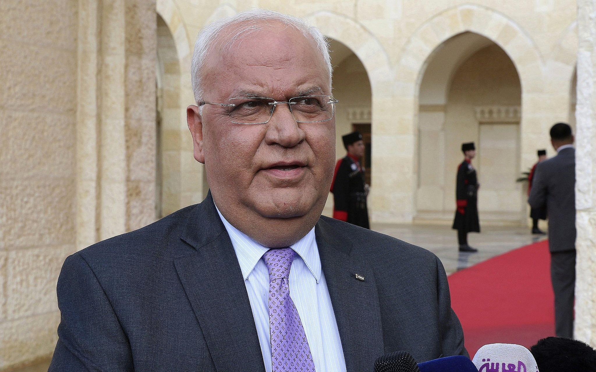 Koronavírusban meghalt Száeb Erekat palesztin főtárgyaló