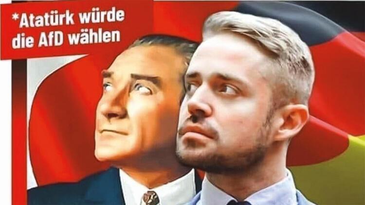 """""""Atatürk is az AfD-t választaná"""" – áll az AfD zsidó képviselőjelöltjét ábrázoló plakáton"""